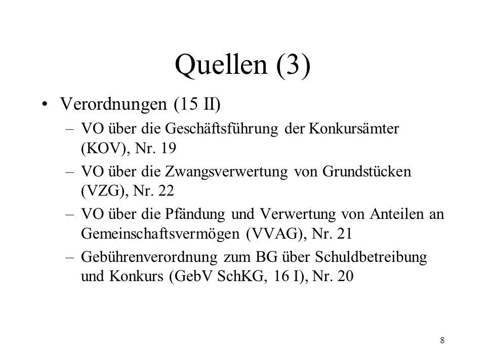 8 Quellen (3) Verordnungen (15 II) –VO über die Geschäftsführung der Konkursämter (KOV), Nr.