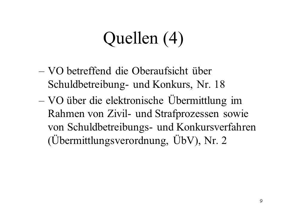 9 Quellen (4) –VO betreffend die Oberaufsicht über Schuldbetreibung- und Konkurs, Nr.