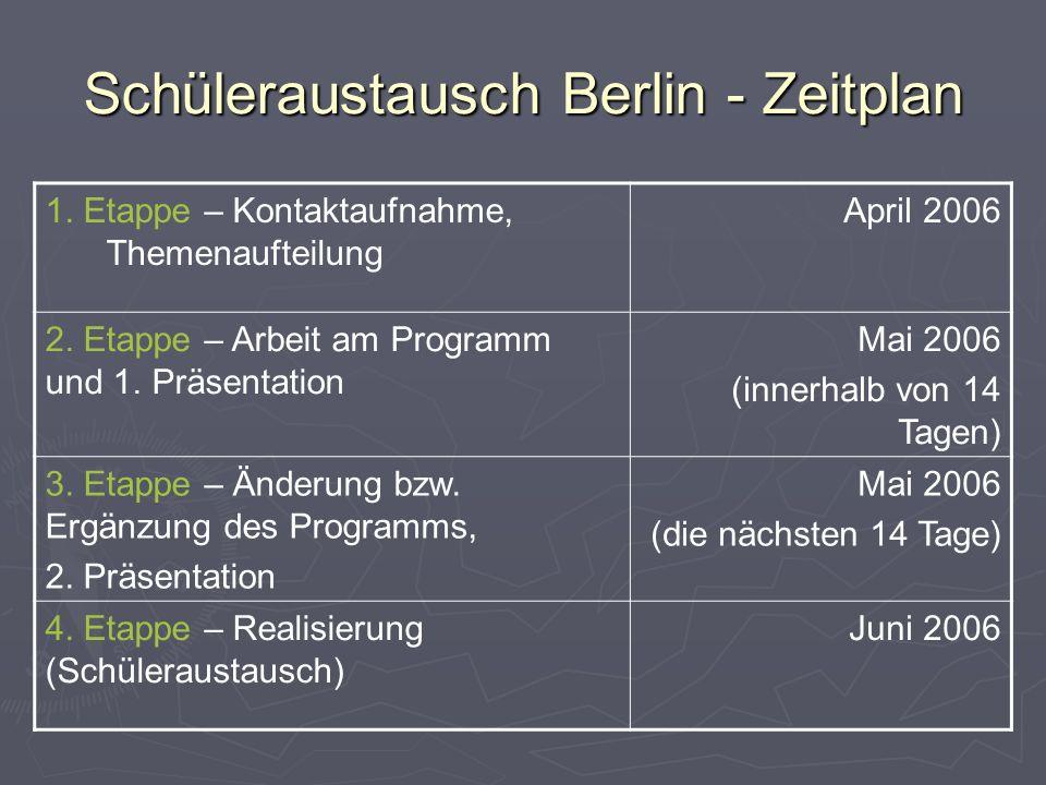 Schüleraustausch Berlin - Zeitplan 1. Etappe – Kontaktaufnahme, Themenaufteilung April 2006 2. Etappe – Arbeit am Programm und 1. Präsentation Mai 200