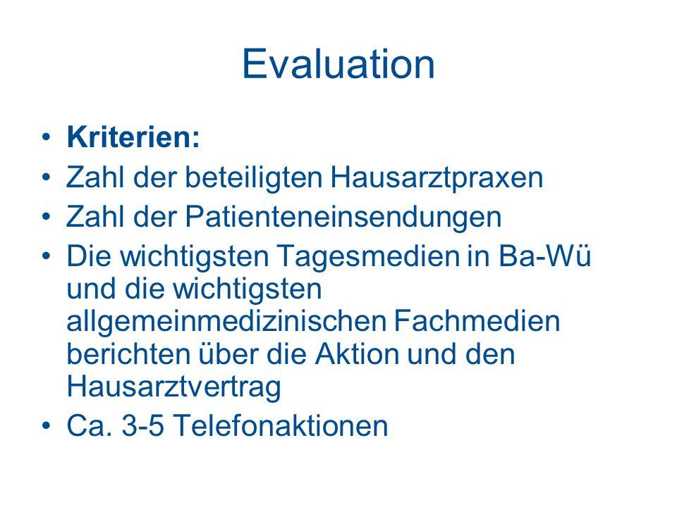 Evaluation Kriterien: Zahl der beteiligten Hausarztpraxen Zahl der Patienteneinsendungen Die wichtigsten Tagesmedien in Ba-Wü und die wichtigsten allg