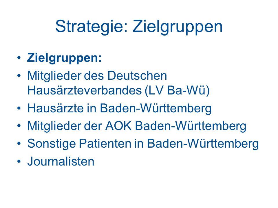 Strategie: Zielgruppen Zielgruppen: Mitglieder des Deutschen Hausärzteverbandes (LV Ba-Wü) Hausärzte in Baden-Württemberg Mitglieder der AOK Baden-Württemberg Sonstige Patienten in Baden-Württemberg Journalisten