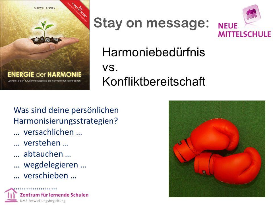 Harmoniebedürfnis vs. Konfliktbereitschaft Was sind deine persönlichen Harmonisierungsstrategien? … versachlichen … … verstehen … … abtauchen … … wegd