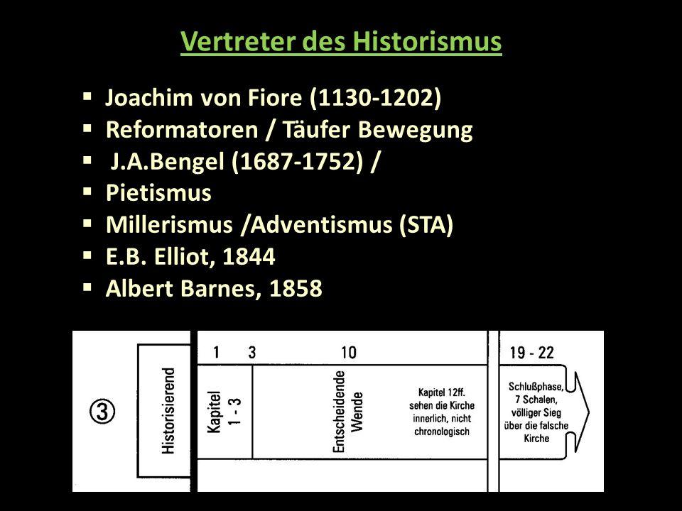  Joachim von Fiore (1130-1202)  Reformatoren / Täufer Bewegung  J.A.Bengel (1687-1752) /  Pietismus  Millerismus /Adventismus (STA)  E.B.