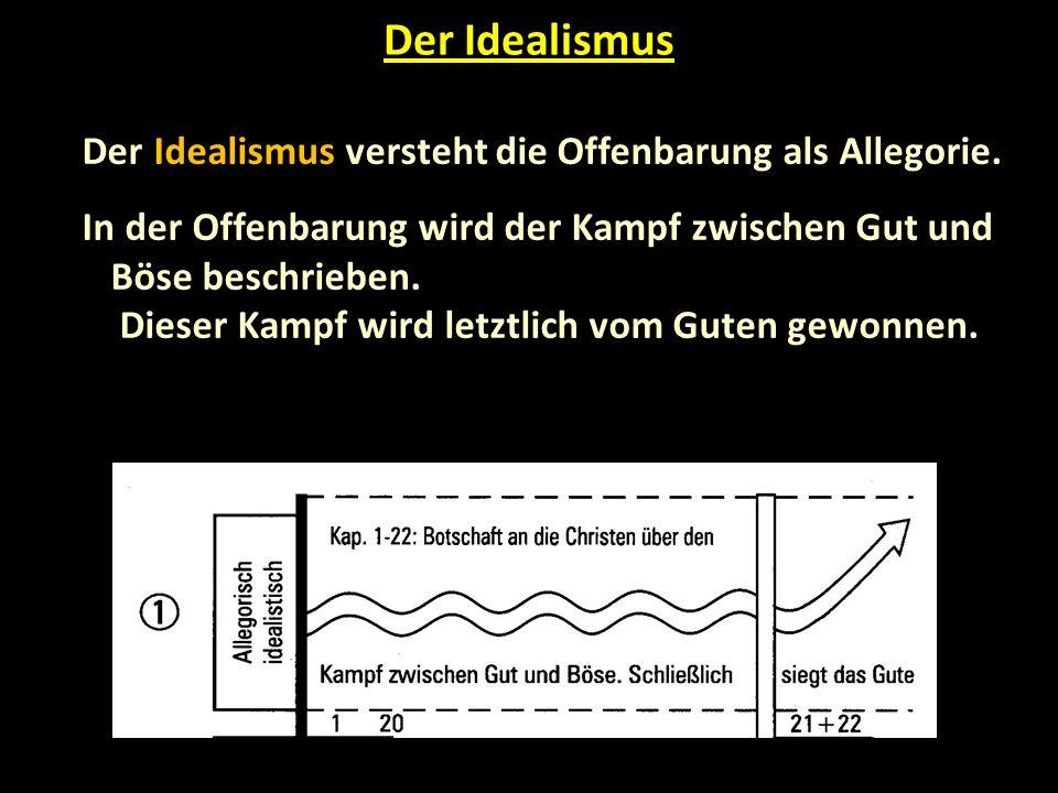 Schlussfolgerung © manfred-gebhard.de Mit Adolf Pohl und Ouweneel bin ich der Meinung, dass jeder der vier Interpretationsmodelle einen wertvollen Beitrag zum Verständnis der Offenbarung liefern kann.