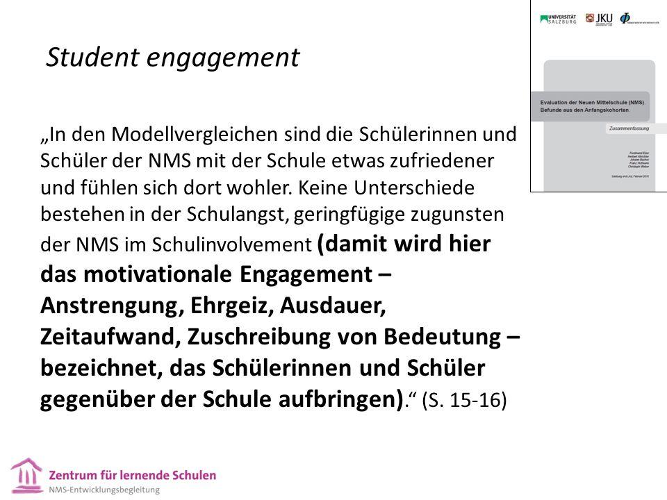 """Student engagement """"In den Modellvergleichen sind die Schülerinnen und Schüler der NMS mit der Schule etwas zufriedener und fühlen sich dort wohler."""
