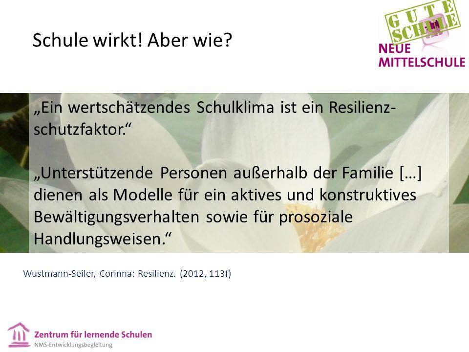 """""""Ein wertschätzendes Schulklima ist ein Resilienz- schutzfaktor. """"Unterstützende Personen außerhalb der Familie […] dienen als Modelle für ein aktives und konstruktives Bewältigungsverhalten sowie für prosoziale Handlungsweisen. Wustmann-Seiler, Corinna: Resilienz."""