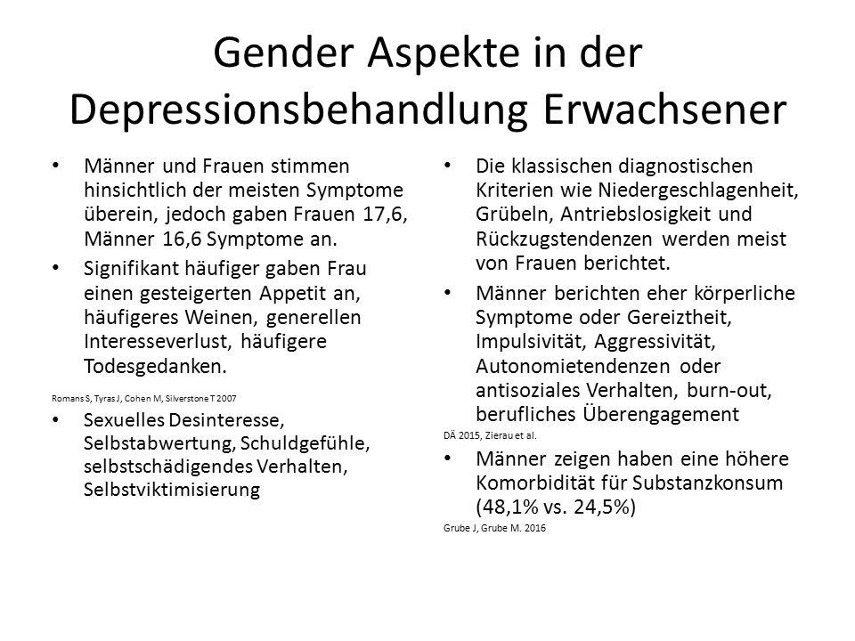 Gender Aspekte in der Depressionsbehandlung Erwachsener Männer und Frauen stimmen hinsichtlich der meisten Symptome überein, jedoch gaben Frauen 17,6, Männer 16,6 Symptome an.