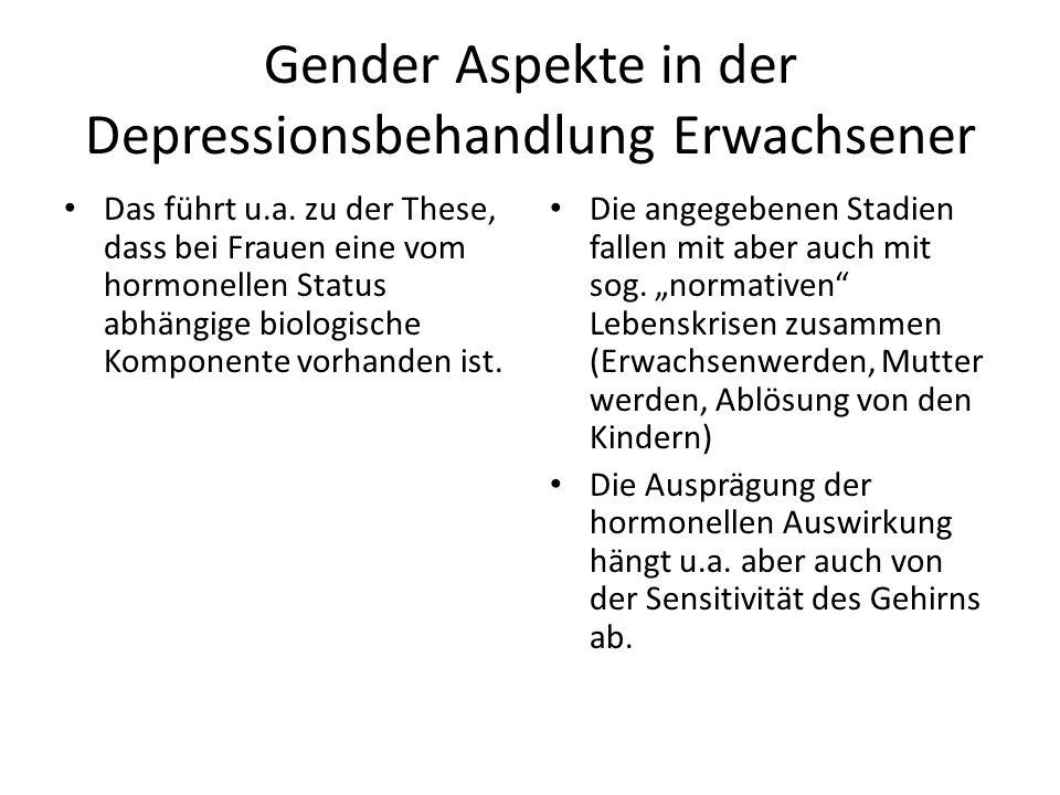 Gender Aspekte in der Depressionsbehandlung Erwachsener Analog beeinflussen hohe und niedrige Testosteronspiegel die männliche Stimmung Hohe Testosteronspiegel können sowohl mit einer erhöhten Depressionsrate, aber auch mit manischen Symptomen assoziiert sein.