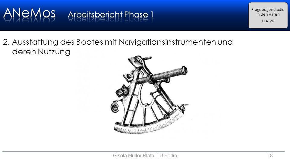 Gisela Müller-Plath, TU Berlin18 Fragebogenstudie in den Häfen 114 VP 2.