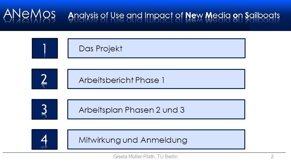 Das Projekt Arbeitsbericht Phase 1 Mitwirkung und Anmeldung Arbeitsplan Phasen 2 und 3 Gisela Müller-Plath, TU Berlin2