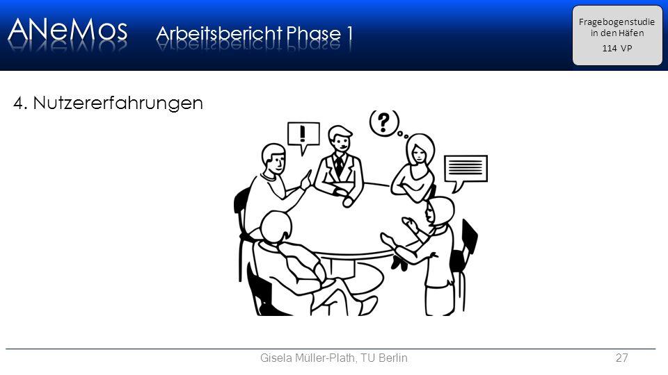 Gisela Müller-Plath, TU Berlin27 Fragebogenstudie in den Häfen 114 VP 4. Nutzererfahrungen