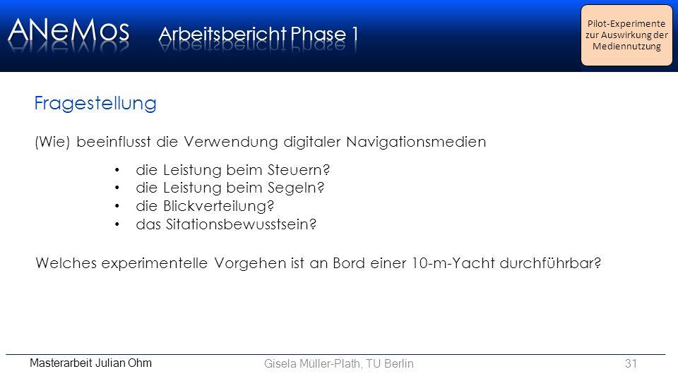 Gisela Müller-Plath, TU Berlin31 Pilot-Experimente zur Auswirkung der Mediennutzung (Wie) beeinflusst die Verwendung digitaler Navigationsmedien die Leistung beim Steuern.