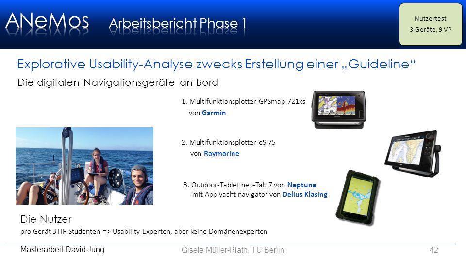 """Gisela Müller-Plath, TU Berlin42 Masterarbeit David Jung Explorative Usability-Analyse zwecks Erstellung einer """"Guideline Nutzertest 3 Geräte, 9 VP 2."""