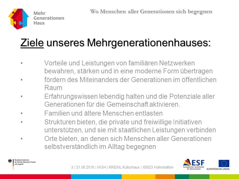 "4 | 21.06.2016 | MGH | KREML Kulturhaus | 65623 Hahnstätten Was ist das ""Mehrgenerationenhaus ."