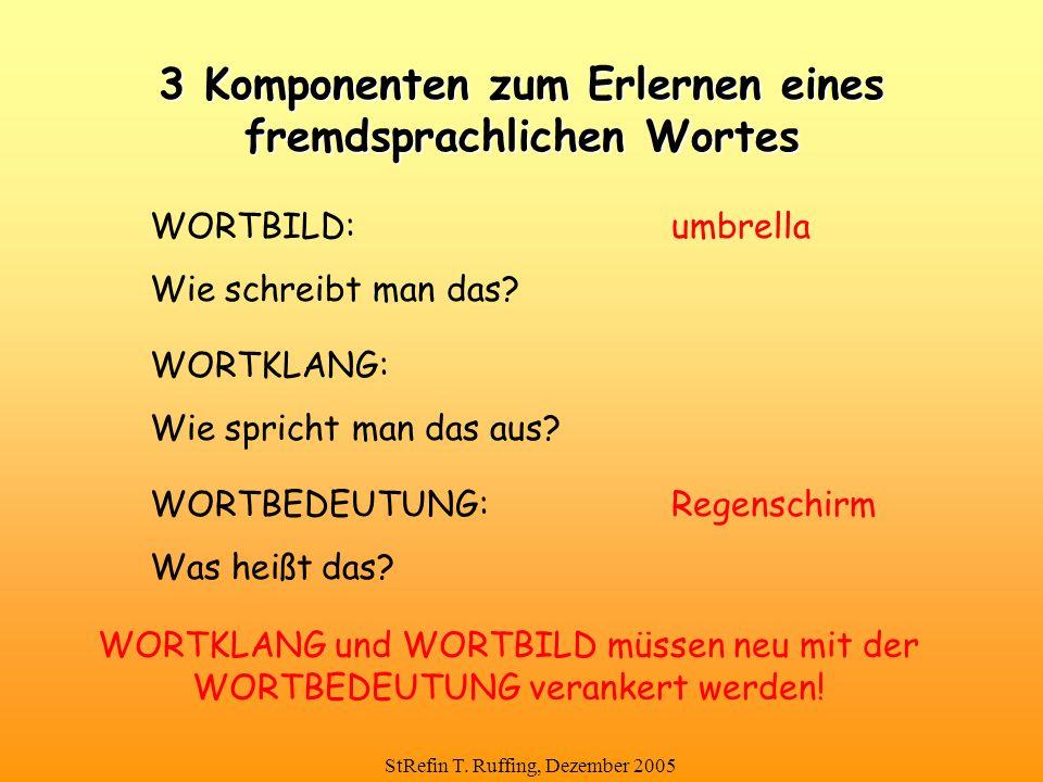StRefin T. Ruffing, Dezember 2005 WORTBILD:umbrella Wie schreibt man das? 3 Komponenten zum Erlernen eines fremdsprachlichen Wortes WORTKLANG: Wie spr