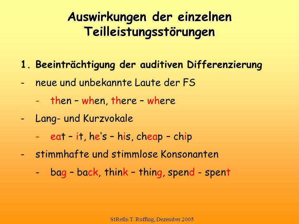 StRefin T. Ruffing, Dezember 2005 Auswirkungen der einzelnen Teilleistungsstörungen 1.Beeinträchtigung der auditiven Differenzierung -neue und unbekan