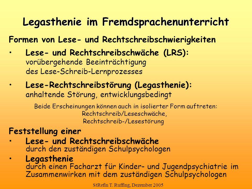 StRefin T. Ruffing, Dezember 2005 Formen von Lese- und Rechtschreibschwierigkeiten Lese- und Rechtschreibschwäche (LRS): vorübergehende Beeinträchtigu
