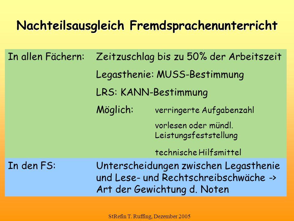 StRefin T. Ruffing, Dezember 2005 Nachteilsausgleich Fremdsprachenunterricht In allen Fächern:Zeitzuschlag bis zu 50% der Arbeitszeit Legasthenie: MUS