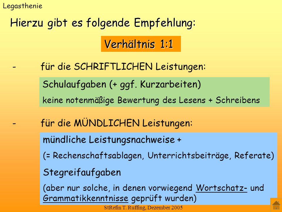 StRefin T. Ruffing, Dezember 2005 Hierzu gibt es folgende Empfehlung: Schulaufgaben (+ ggf. Kurzarbeiten) keine notenmäßige Bewertung des Lesens + Sch