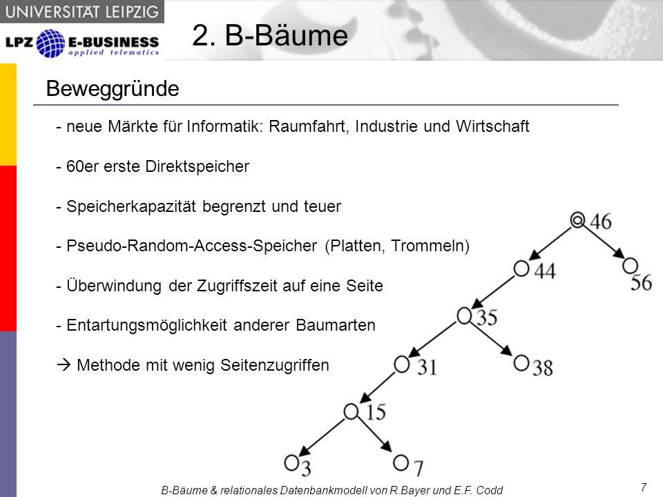 - neue Märkte für Informatik: Raumfahrt, Industrie und Wirtschaft - 60er erste Direktspeicher - Speicherkapazität begrenzt und teuer - Pseudo-Random-Access-Speicher (Platten, Trommeln) - Überwindung der Zugriffszeit auf eine Seite - Entartungsmöglichkeit anderer Baumarten  Methode mit wenig Seitenzugriffen B-Bäume & relationales Datenbankmodell von R.Bayer und E.F.