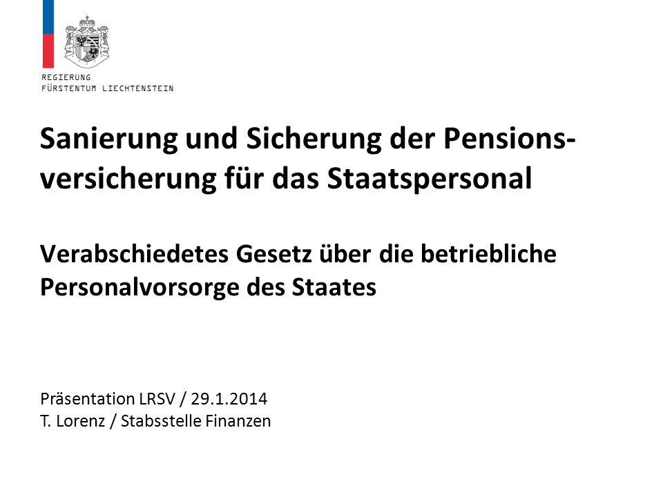 REGIERUNG FÜRSTENTUM LIECHTENSTEIN Sanierung und Sicherung der Pensions- versicherung für das Staatspersonal Verabschiedetes Gesetz über die betriebli