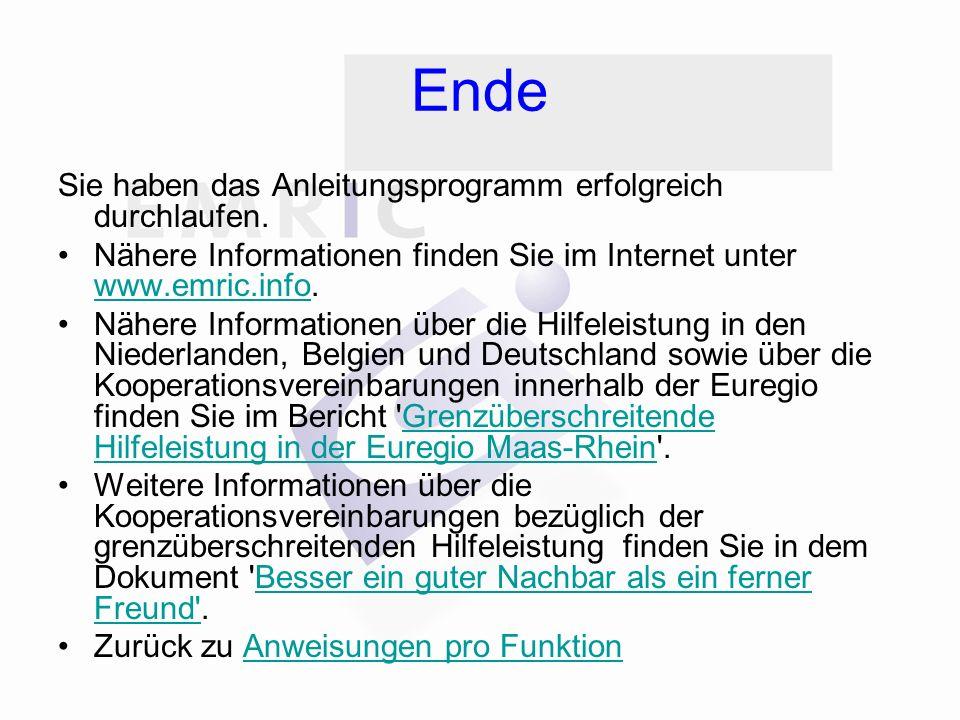 Ende Sie haben das Anleitungsprogramm erfolgreich durchlaufen. Nähere Informationen finden Sie im Internet unter www.emric.info. www.emric.info Nähere