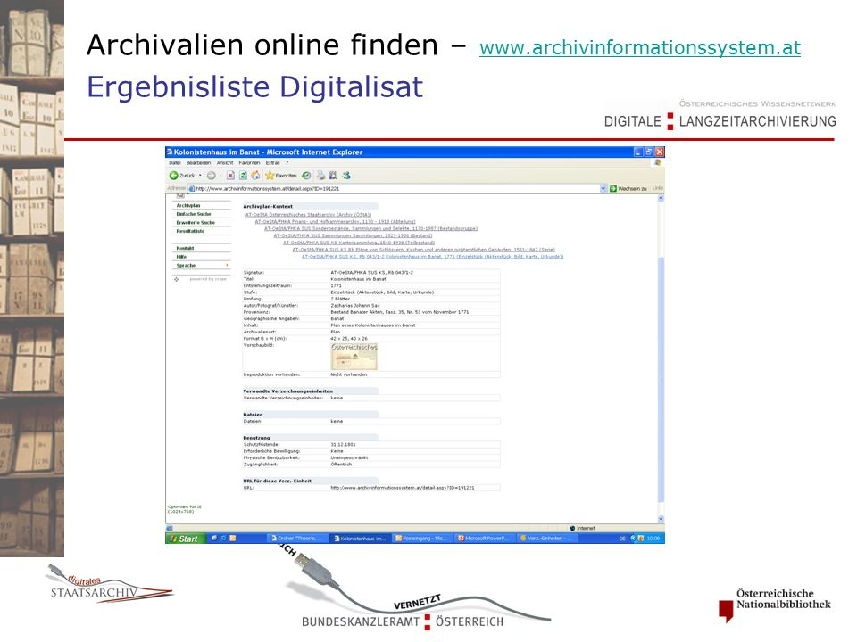 Archivalien online finden – www.archivinformationssystem.at Ergebnisliste Digitalisat www.archivinformationssystem.at