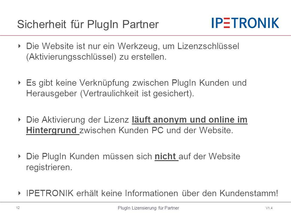 PlugIn Lizensierung für Partner V1.4 12 Sicherheit für PlugIn Partner ‣ Die Website ist nur ein Werkzeug, um Lizenzschlüssel (Aktivierungsschlüssel) zu erstellen.