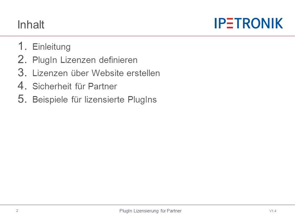 PlugIn Lizensierung für Partner V1.4 2 Inhalt 1. Einleitung 2. PlugIn Lizenzen definieren 3. Lizenzen über Website erstellen 4. Sicherheit für Partner