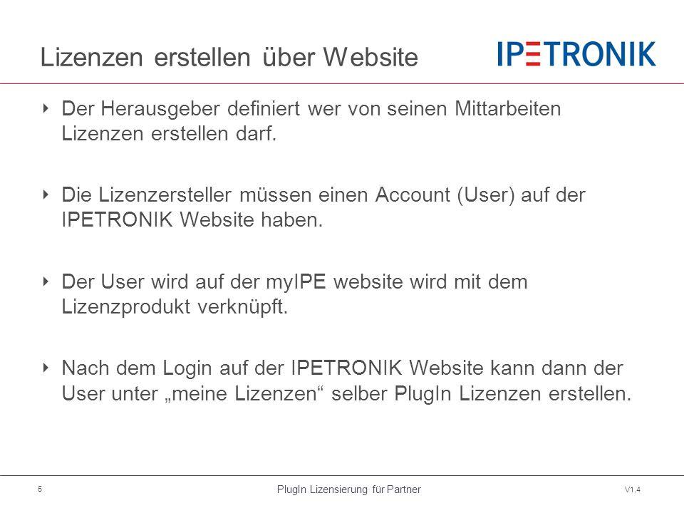 PlugIn Lizensierung für Partner V1.4 5 Lizenzen erstellen über Website ‣ Der Herausgeber definiert wer von seinen Mittarbeiten Lizenzen erstellen darf.