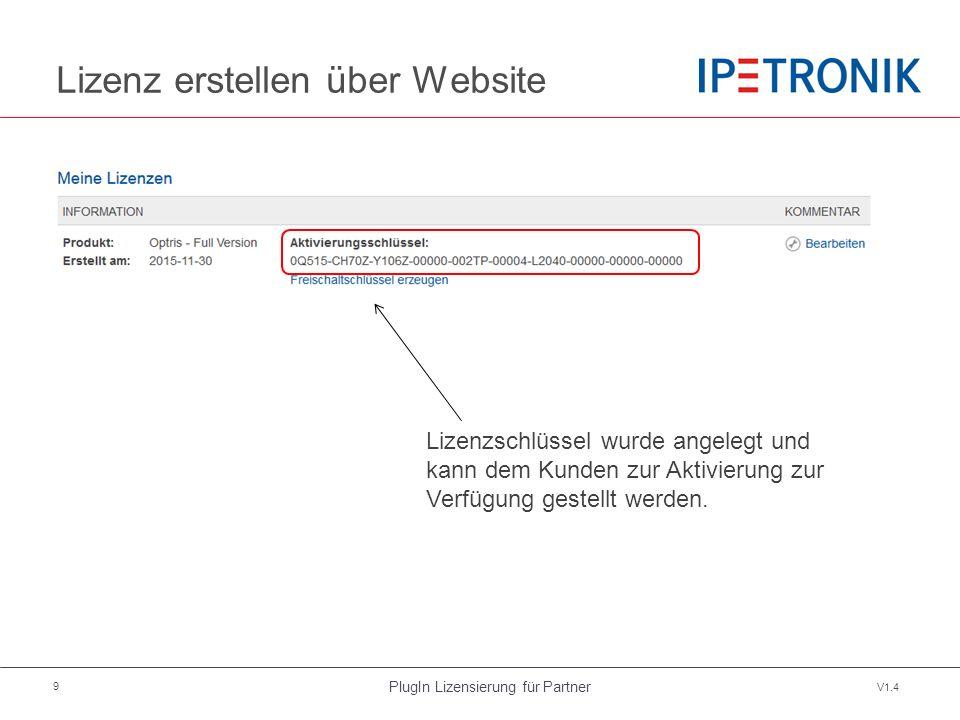 PlugIn Lizensierung für Partner V1.4 9 Lizenz erstellen über Website Lizenzschlüssel wurde angelegt und kann dem Kunden zur Aktivierung zur Verfügung gestellt werden.
