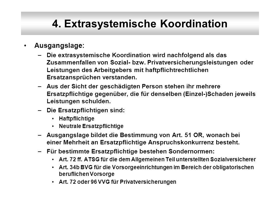 4. Extrasystemische Koordination Ausgangslage: –Die extrasystemische Koordination wird nachfolgend als das Zusammenfallen von Sozial- bzw. Privatversi