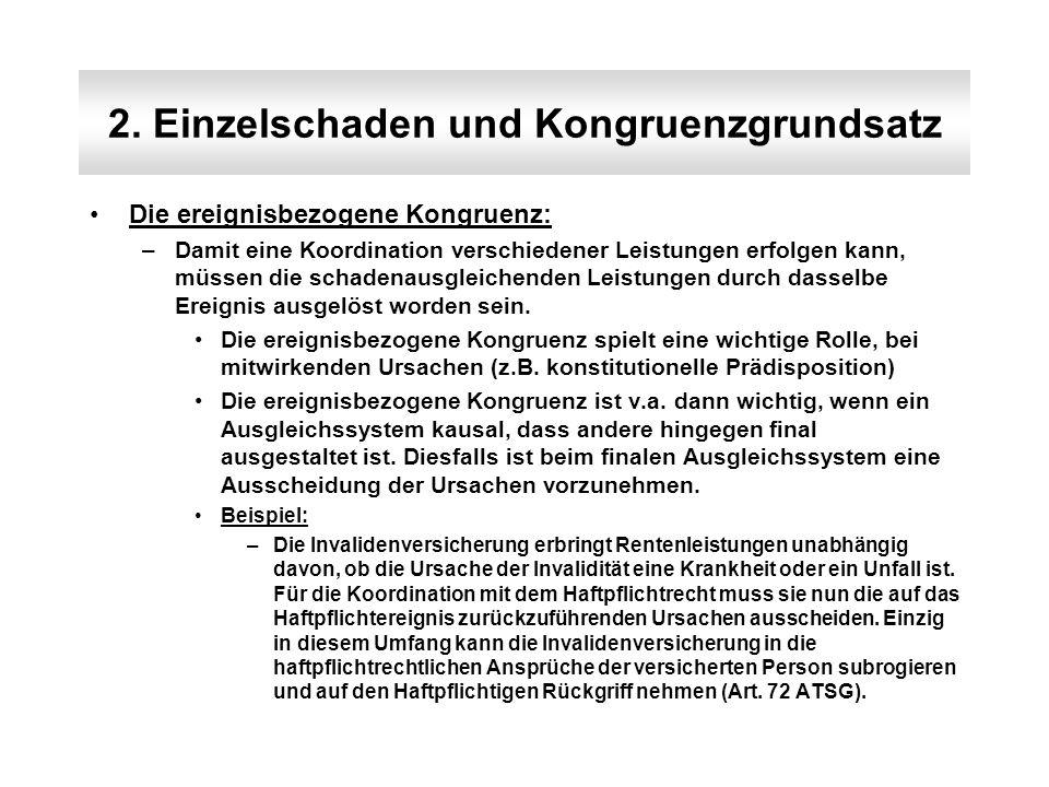 2. Einzelschaden und Kongruenzgrundsatz Die ereignisbezogene Kongruenz: –Damit eine Koordination verschiedener Leistungen erfolgen kann, müssen die sc