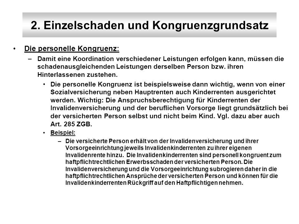 2. Einzelschaden und Kongruenzgrundsatz Die personelle Kongruenz: –Damit eine Koordination verschiedener Leistungen erfolgen kann, müssen die schadena