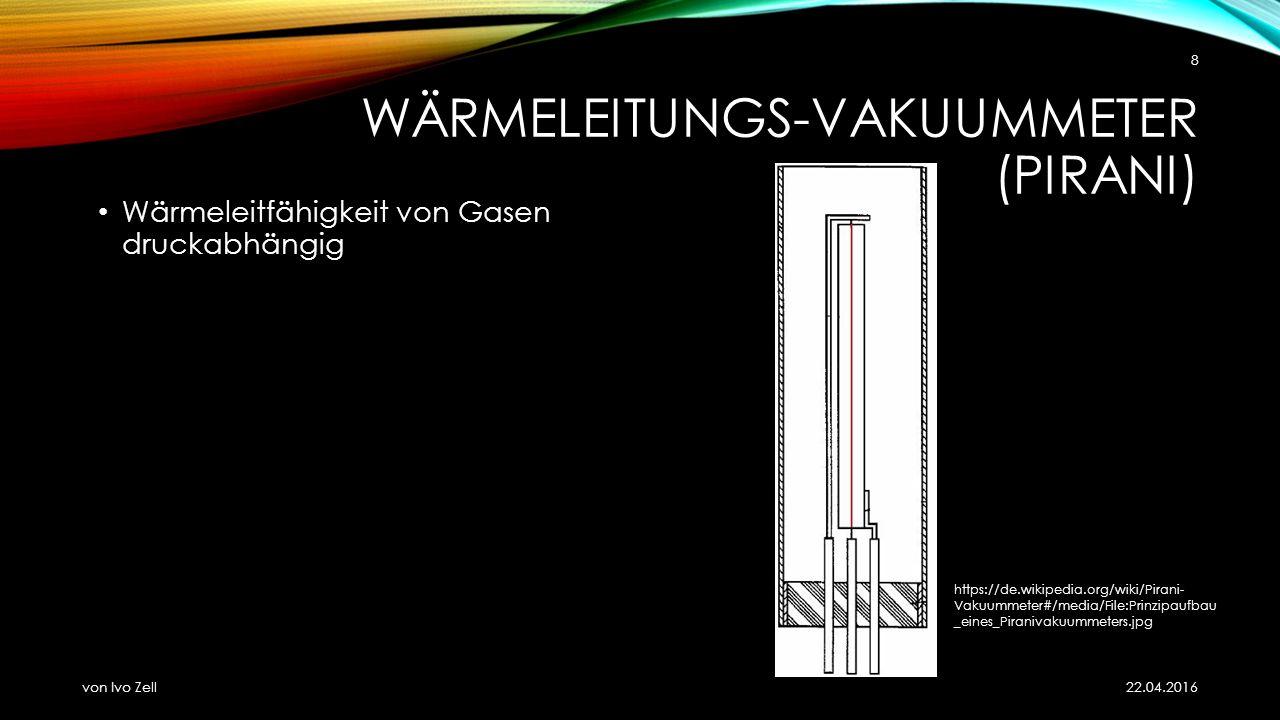 WÄRMELEITUNGS-VAKUUMMETER (PIRANI) Wärmeleitfähigkeit von Gasen druckabhängig 22.04.2016 von Ivo Zell 8 https://de.wikipedia.org/wiki/Pirani- Vakuummeter#/media/File:Prinzipaufbau _eines_Piranivakuummeters.jpg