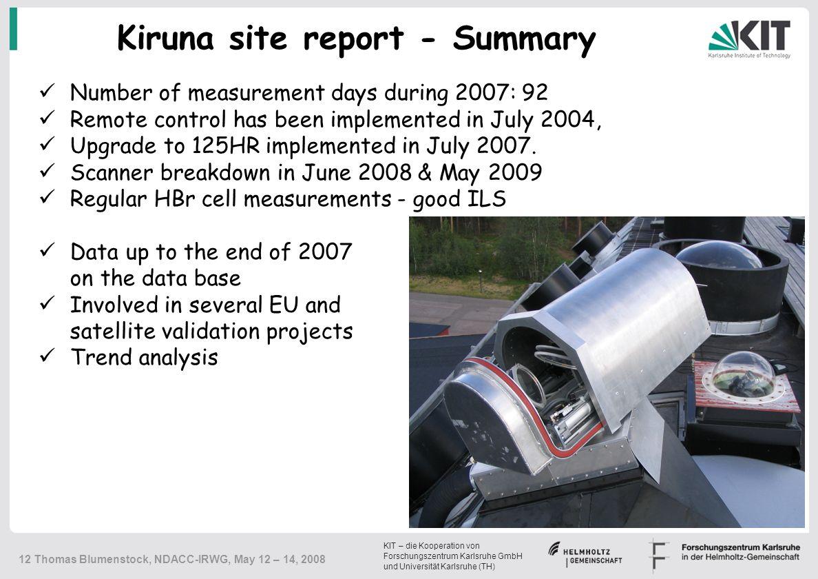 KIT – die Kooperation von Forschungszentrum Karlsruhe GmbH und Universität Karlsruhe (TH) 12 Thomas Blumenstock, NDACC-IRWG, May 12 – 14, 2008 Number