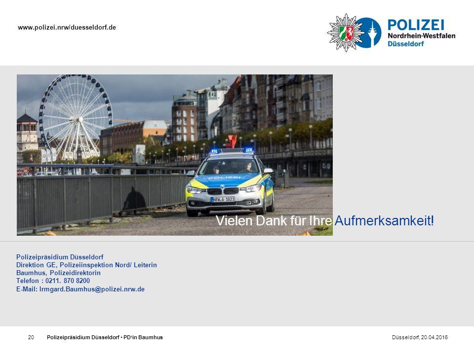 www.polizei.nrw/duesseldorf.de Polizeipräsidium Düsseldorf  PD'in Baumhus Düsseldorf, 20.04.201620 Polizeipräsidium Düsseldorf Direktion GE, Polizeii