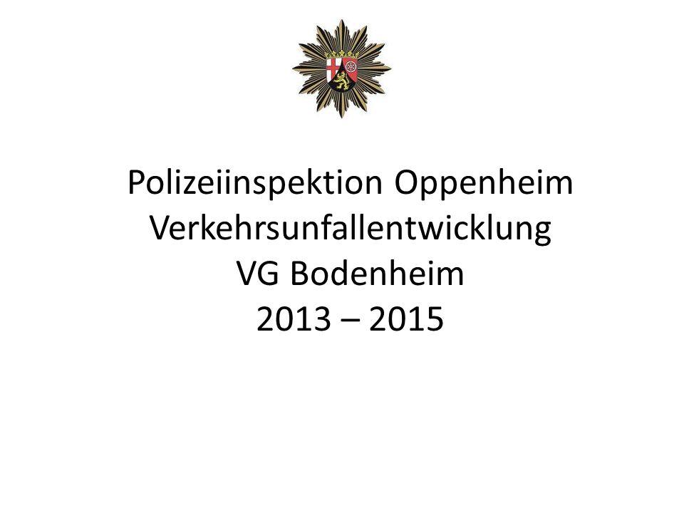 Polizeiinspektion Oppenheim Verkehrsunfallentwicklung VG Bodenheim 2013 – 2015