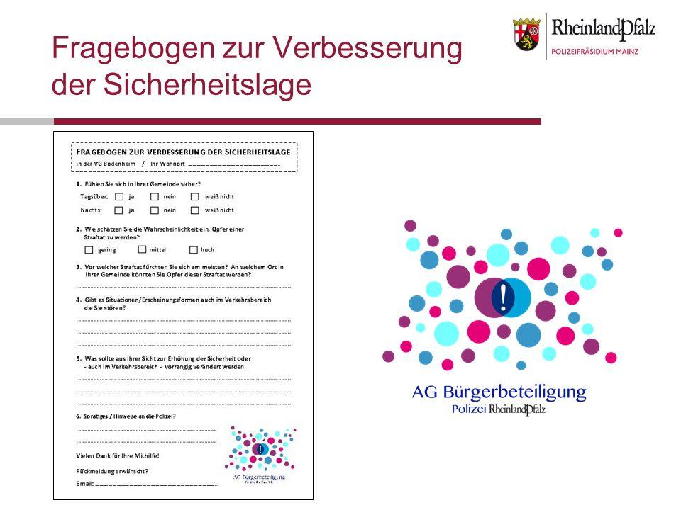 Fragebogen zur Verbesserung der Sicherheitslage in der VG Bodenheim / Ihr Wohnort ………………………………………………………..