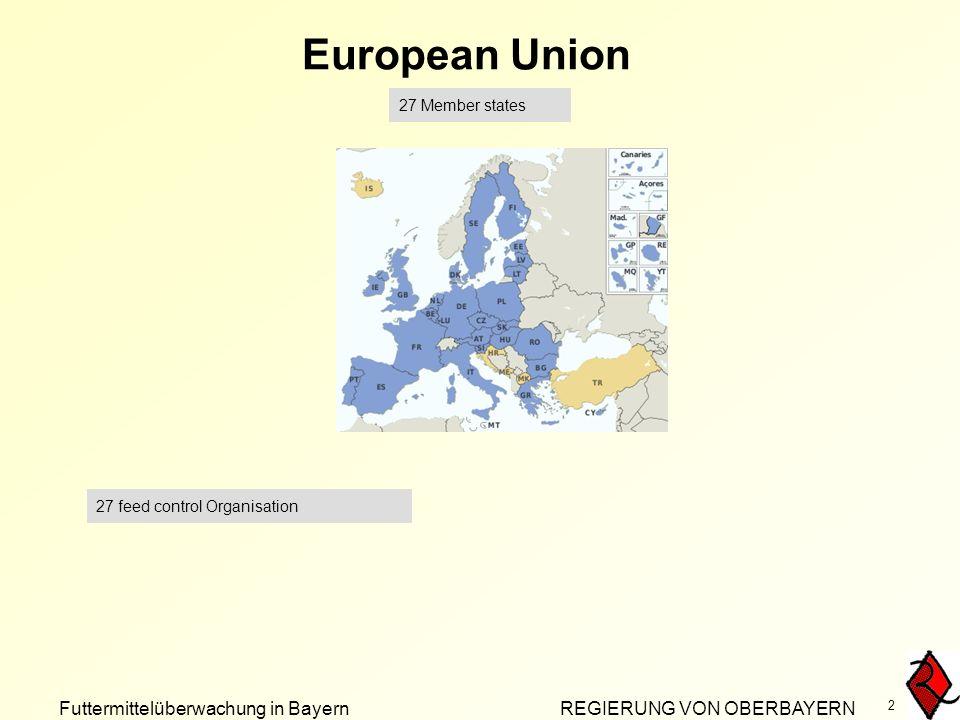 Futtermittelüberwachung in Bayern REGIERUNG VON OBERBAYERN 2 European Union 27 Member states 27 feed control Organisation