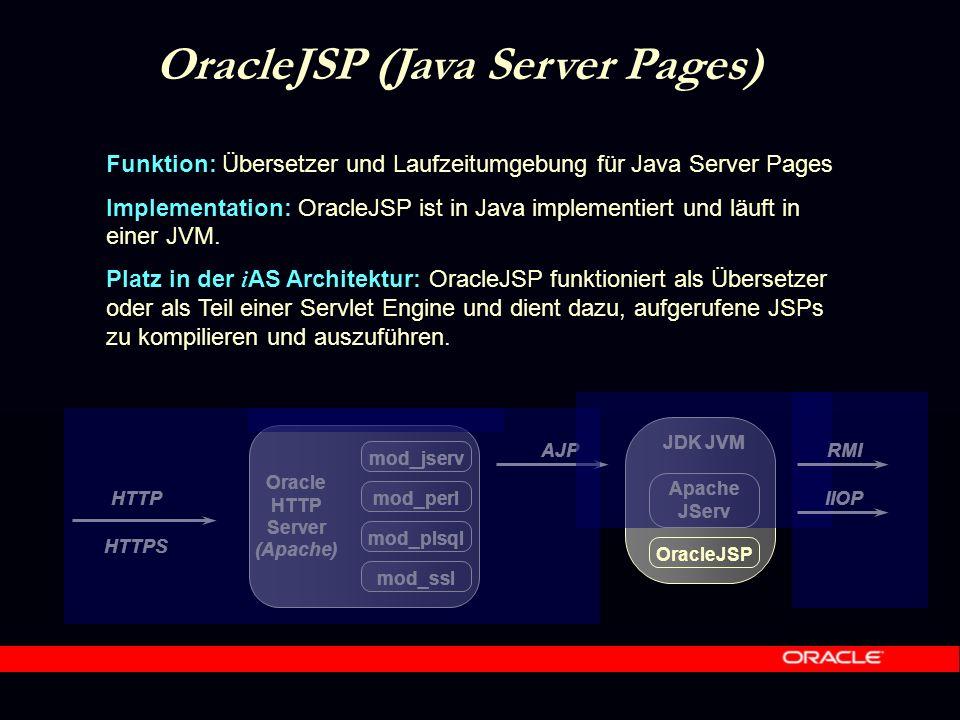 HTTPS Oracle HTTP Server (Apache) mod_jserv mod_perl mod_plsql mod_ssl HTTP JDK JVM AJP Apache JServ RMI IIOP OracleJSP OracleJSP (Java Server Pages) Funktion: Übersetzer und Laufzeitumgebung für Java Server Pages Implementation: OracleJSP ist in Java implementiert und läuft in einer JVM.