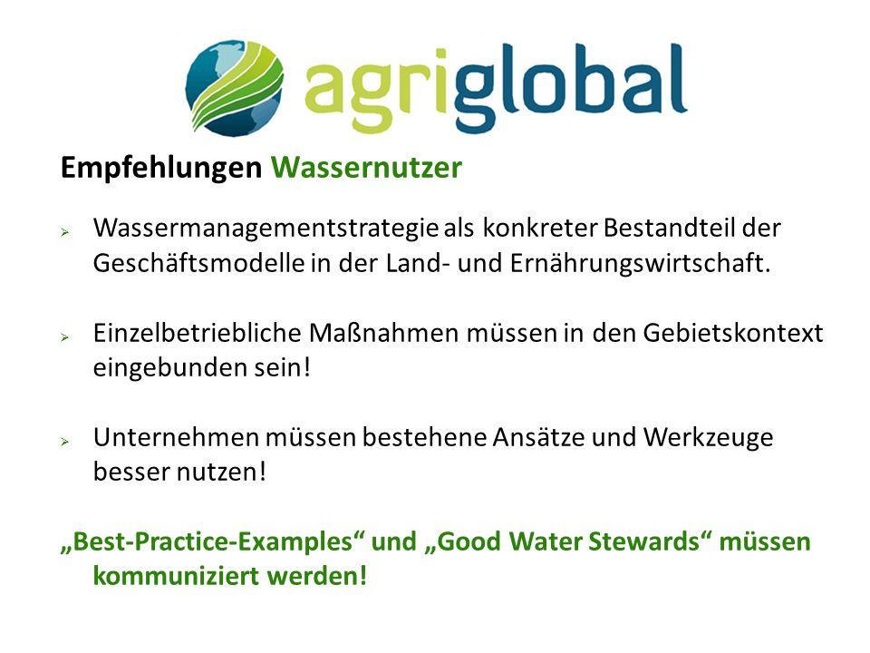 Empfehlungen Wassernutzer  Wassermanagementstrategie als konkreter Bestandteil der Geschäftsmodelle in der Land- und Ernährungswirtschaft.