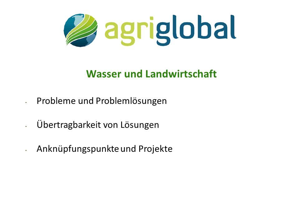 Wasser und Landwirtschaft Probleme und Problemlösungen Übertragbarkeit von Lösungen Anknüpfungspunkte und Projekte