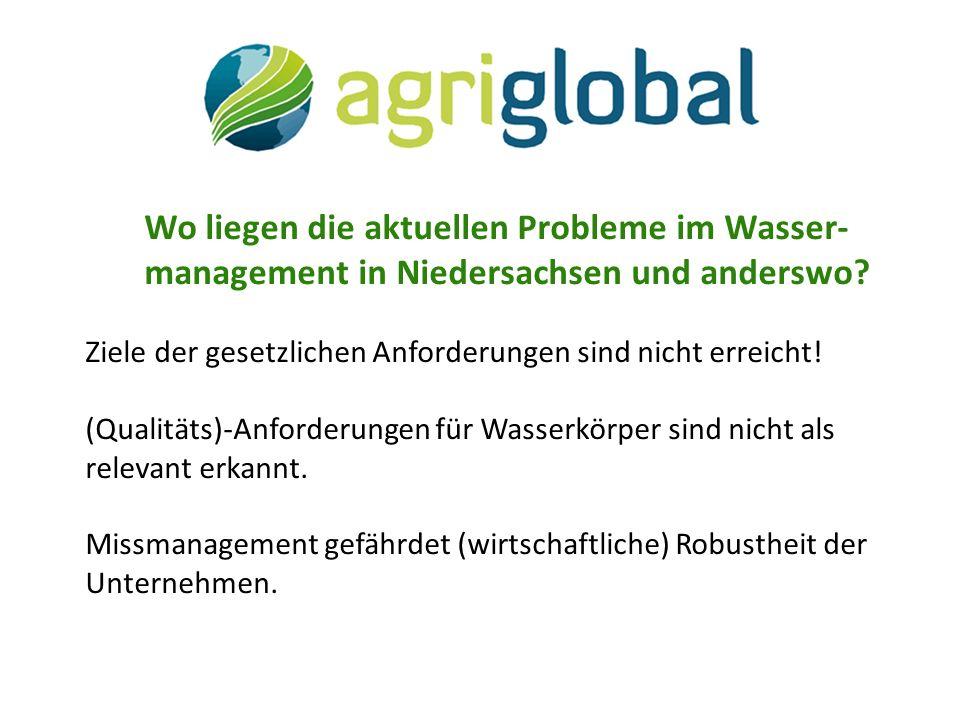 Wo liegen die aktuellen Probleme im Wasser- management in Niedersachsen und anderswo.