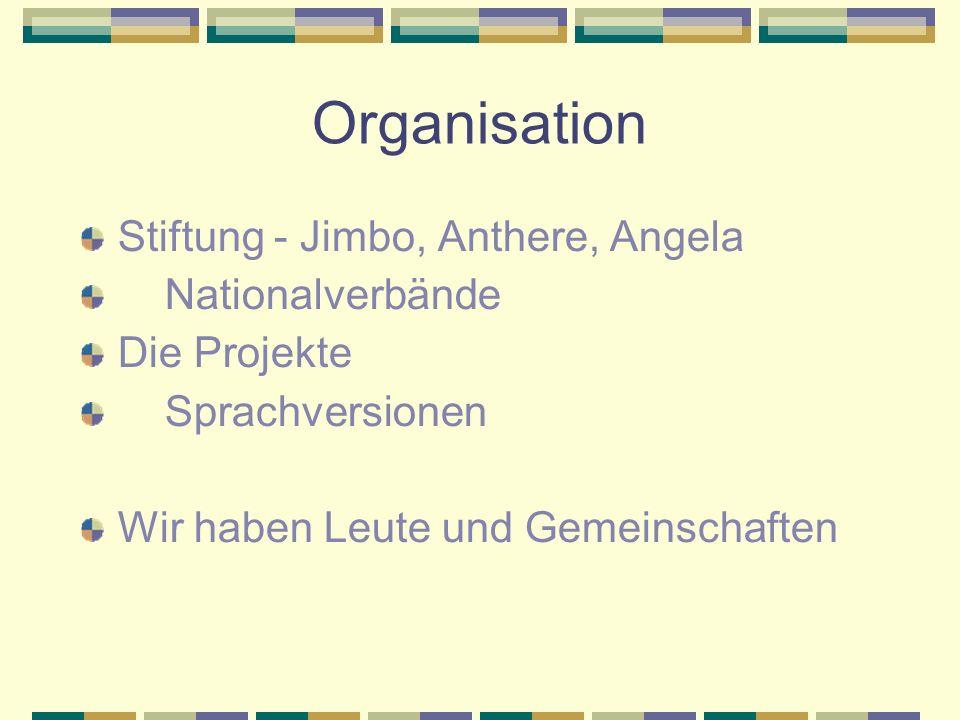 Organisation Stiftung - Jimbo, Anthere, Angela Nationalverbände Die Projekte Sprachversionen Wir haben Leute und Gemeinschaften