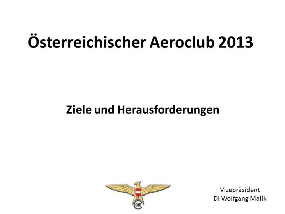 Ziele und Herausforderungen Österreichischer Aeroclub 2013 Vizepräsident DI Wolfgang Malik