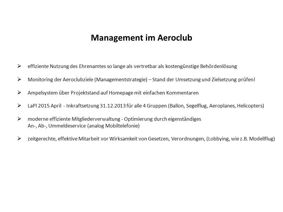 Management im Aeroclub  effiziente Nutzung des Ehrenamtes so lange als vertretbar als kostengünstige Behördenlösung  Monitoring der Aeroclubziele (Managementstrategie) – Stand der Umsetzung und Zielsetzung prüfen.