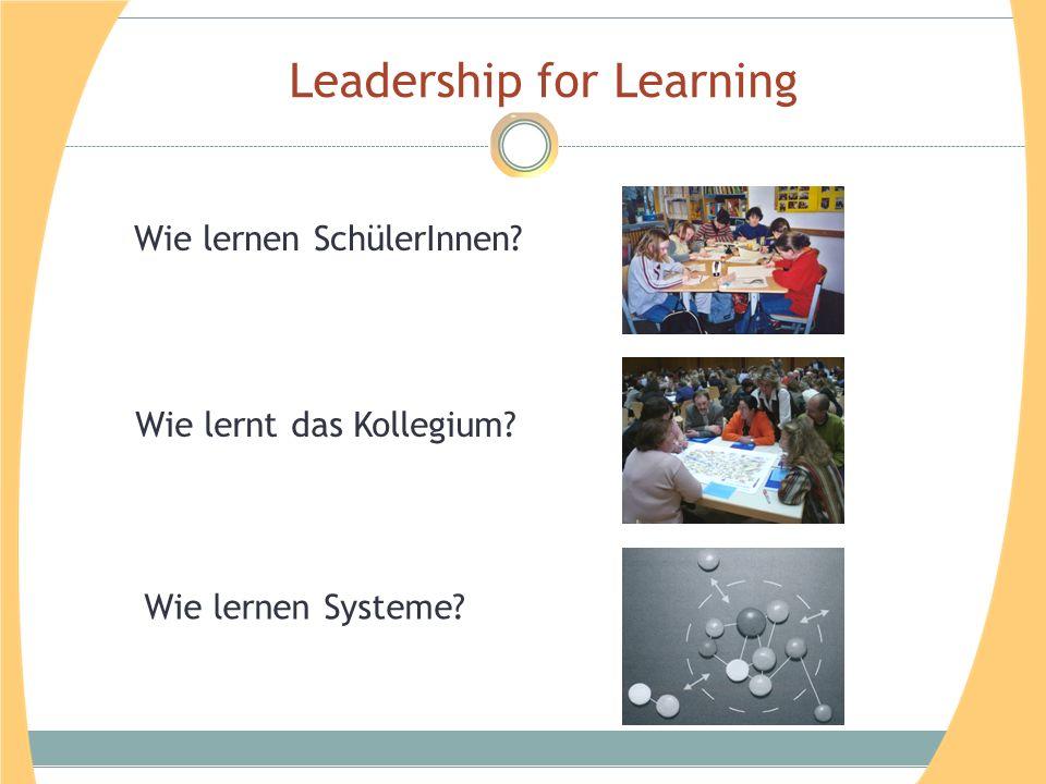 Leadership for Learning Wie lernen Systeme Wie lernt das Kollegium Wie lernen SchülerInnen