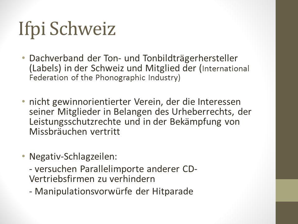 Ifpi Schweiz Dachverband der Ton- und Tonbildträgerhersteller (Labels) in der Schweiz und Mitglied der ( International Federation of the Phonographic