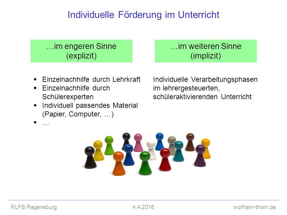 RLFB Regensburg4.4.2016wolfram-thom.de Individuelle Förderung im Unterricht …im engeren Sinne (explizit) …im weiteren Sinne (implizit)  Einzelnachhil